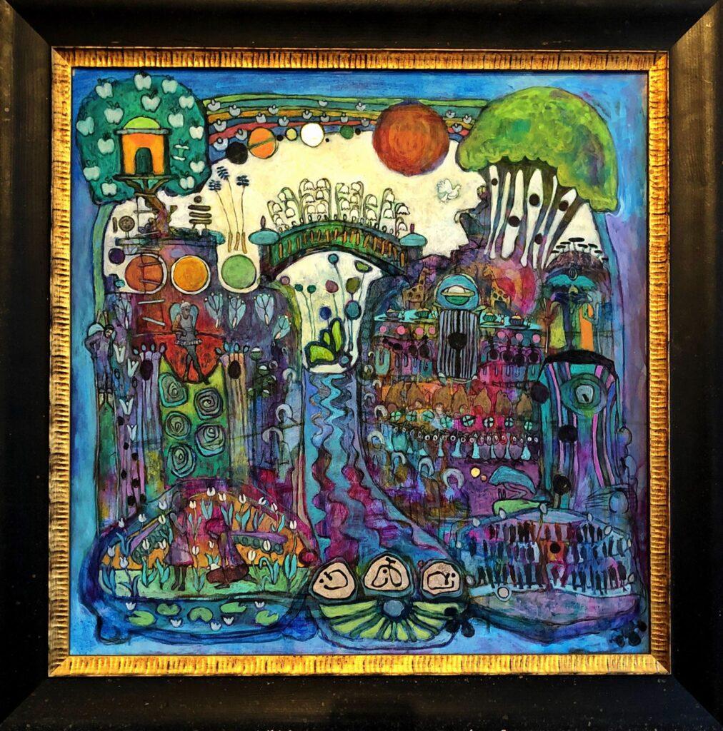Kvar i paradiset stod livets träd orört och bortglömt originalmålning av Klas Parknäs